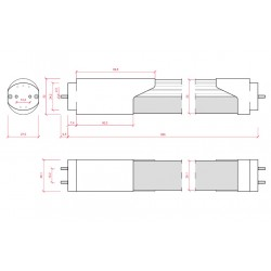 Esquema Tubo led Sensor Proximidad 14W 900mm