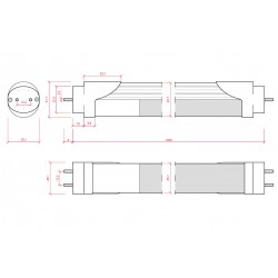 Medida Tubo led Sensor Proximidad 18W 1200mm
