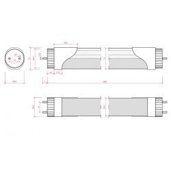 Esquema Tubo led Sensor Proximidad 23W 1500mm