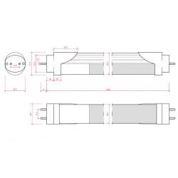 Medidas Tubo led Sensor Proximidad (Apagado Total) 18W 1200mm