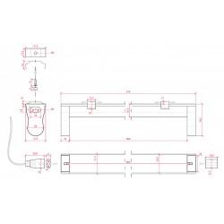 Esquema Portatubos Aluminio T8 600mm