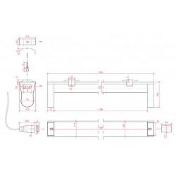 Medidas Portatubos Aluminio T8 1200mm
