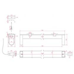 Medidas Portatubos Aluminio T8 1500mm