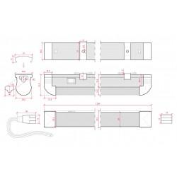 Medida Tubo T8 integrado con interruptor 1200mm 20W