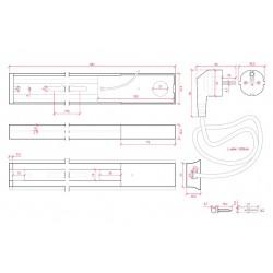 Esquema Conector Carril Monofásico + 1 metro Blanco