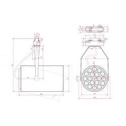 Esquema Foco Carril Led 18W 1800Lm Ø116mm