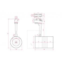 Esquema Foco Carril Led 20W 2000Lm Ø105mm