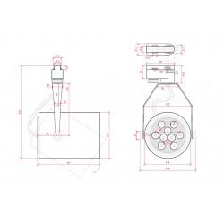 Esquema Foco Carril Led 9W 900Lm Ø116mm