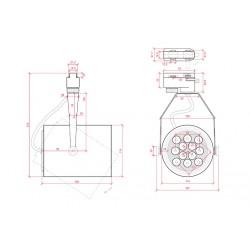 Esquema Foco Carril Led 12W 1200Lm Ø114mm
