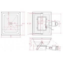 Medidas Foco con sensor de movimiento IP65 50W