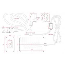 Medidas Transformador plástico 24v 96W 4A