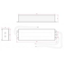 Medidas Transformador exterior 24v 150w IP65