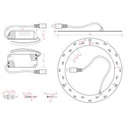 Esquema Aro fluorescente circular de led Ø250mm 15W