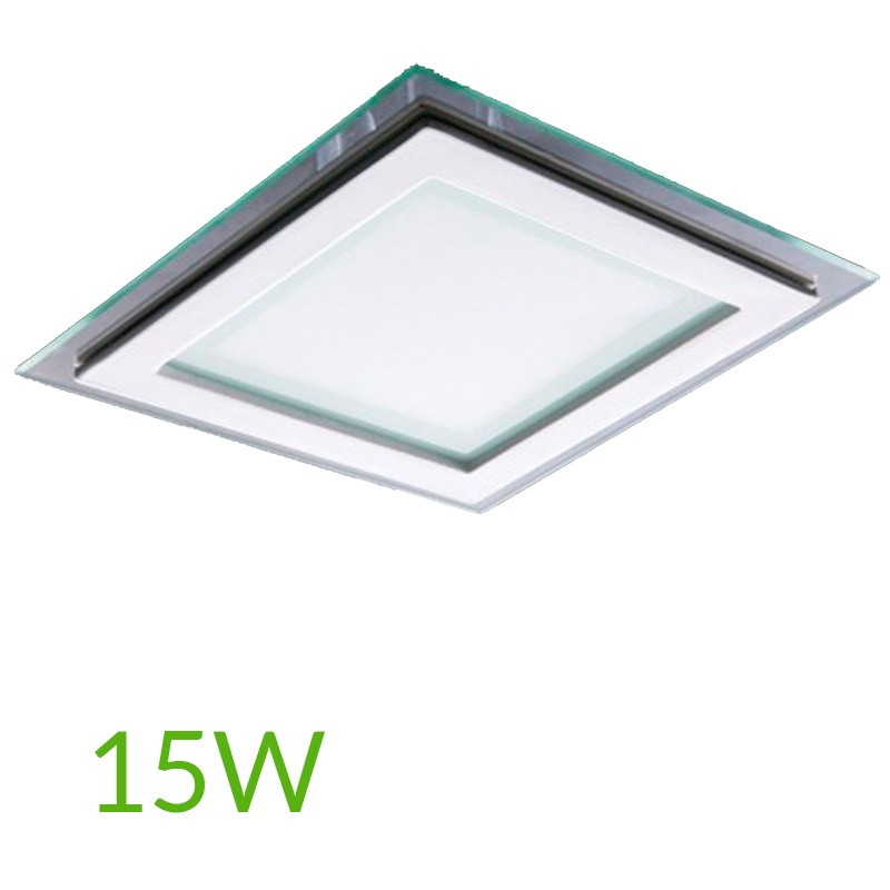 Downlight Cuadrado cristal 15W 200x200mm