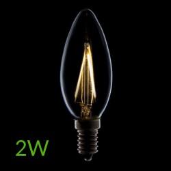 Luz Bombilla led E-14 Filamento Vela 2W 200Lm
