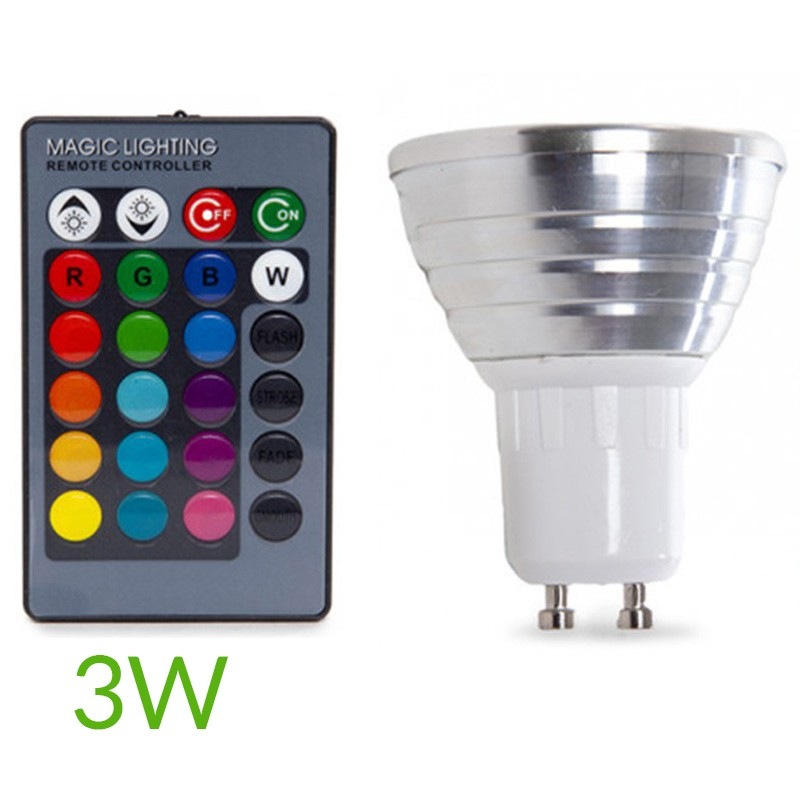 Bombilla led RGB 3W Gu10