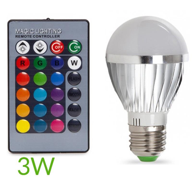 Bombilla led RGB E27 3W Esferica
