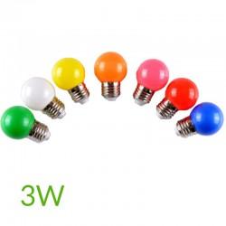 Bombilla led 3W E27 Esferica Colores