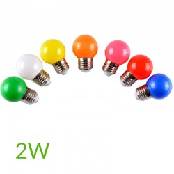 Bombilla led 2W E27 Esferica Colores
