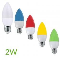 Bombilla led 2W E14 Vela Colores