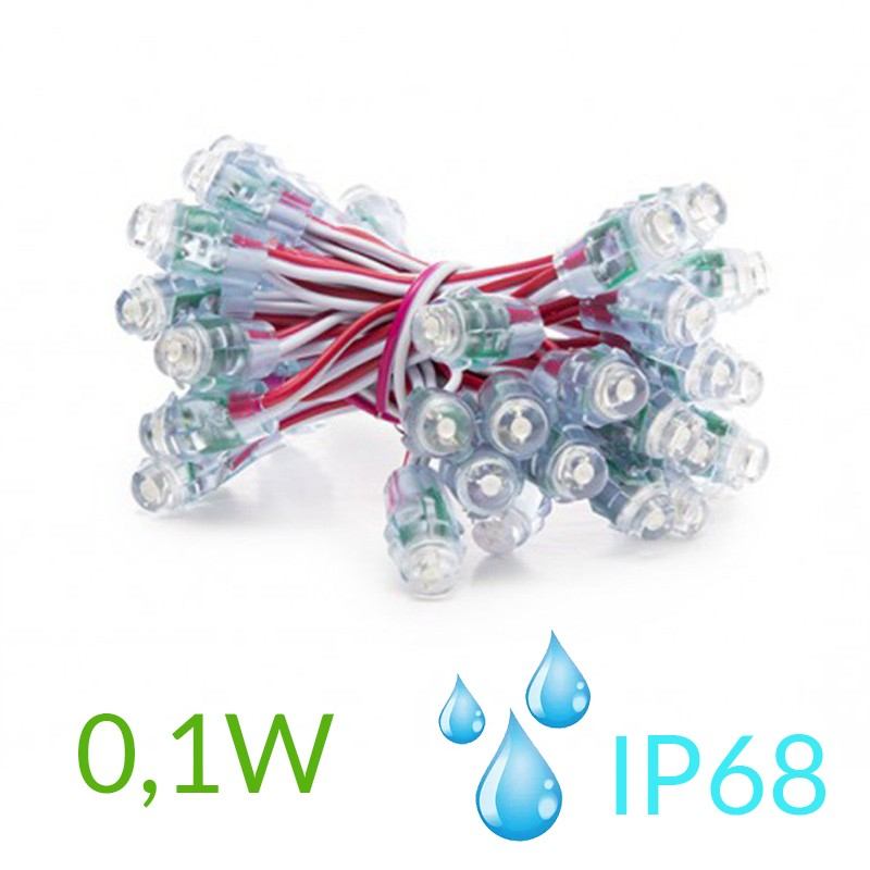Pixel Led 12mm 0,1W 5V (50unidades) IP68 Rojo