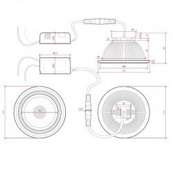 Esquema Bombilla led AR111 COB regulable 12W 1000Lm