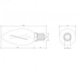 Medida Bombilla led E-14 Filamento Vela 4W 380Lm