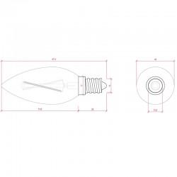 Esquema Bombilla led E-14 Filamento Vela Regulable 4W 380Lm