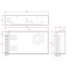 Esquema Transformador metálico 12v 300W 25A IP25