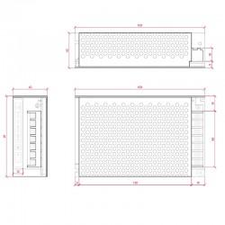Dimensiones Transformador metálico 12v 100W 8,5A IP25