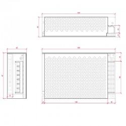 Dimensión Transformador metálico 12v 80W 6,5A IP25