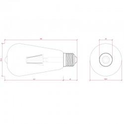 Medida Bombilla led E-27 Filamento 4W 380Lm