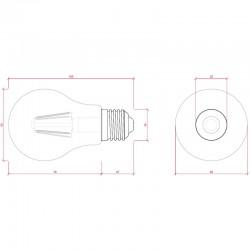 Medida Bombilla led E-27 Filamento Regulable 6W 560Lm