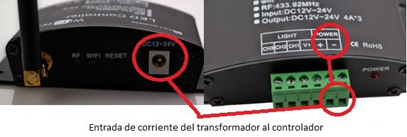 Entrada de corriente al controlador LED wifi