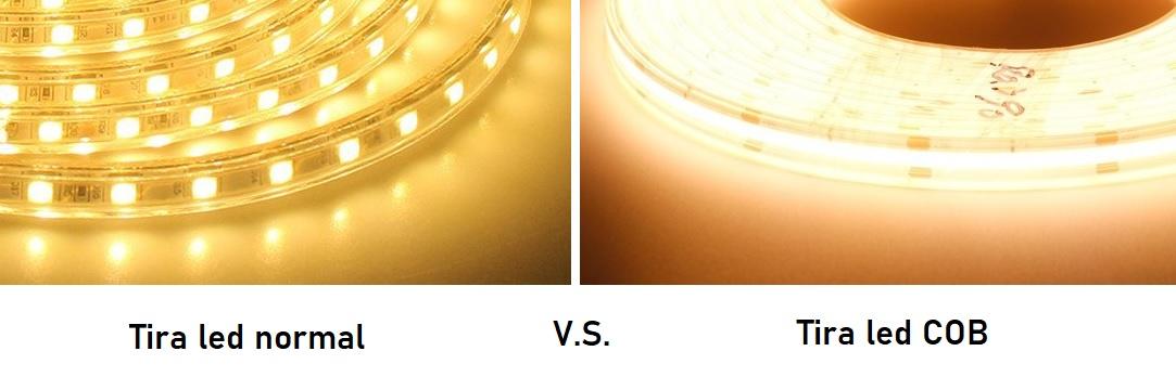 Tira led normal versus tira led cob